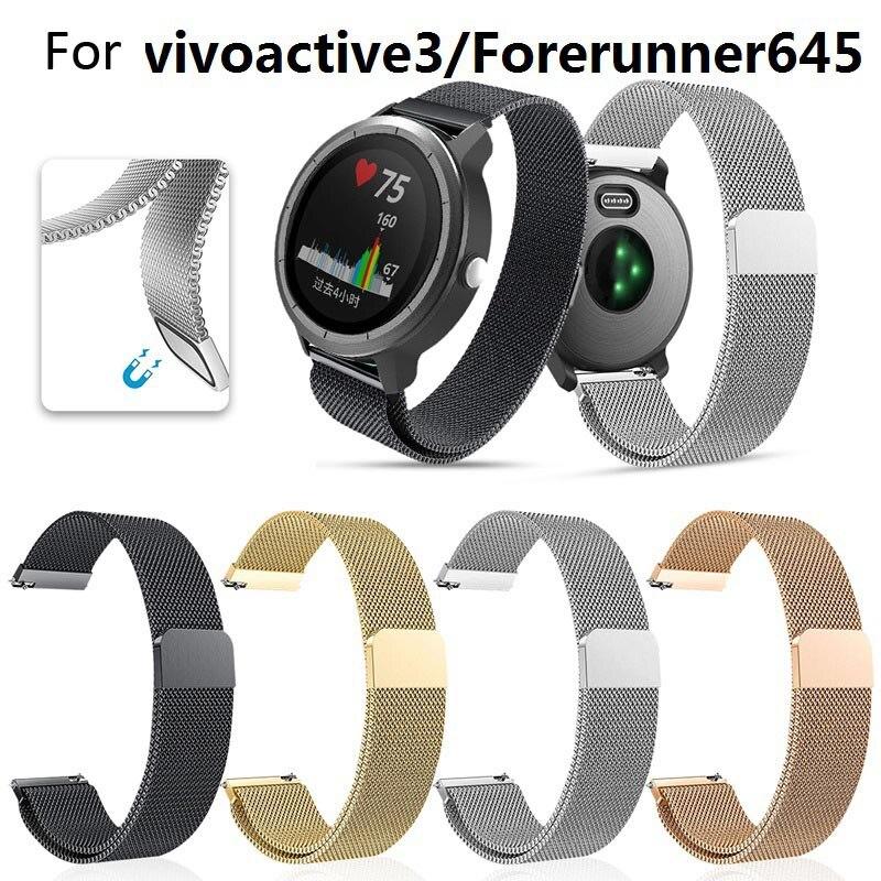 Watch-Band Bracelet-Strap Garmin Vivoactive Milanese Forerunner 645 Stainless 3 HR