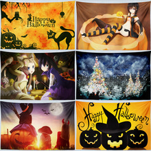 Halloween Pumpkin Horror Tapestry Wall Hanging Hippie Witchcraft Tapestry Tenture Wall Carpet Dorm Headboard Blanket Tablecloth pumpkin lamp wall art halloween tapestry