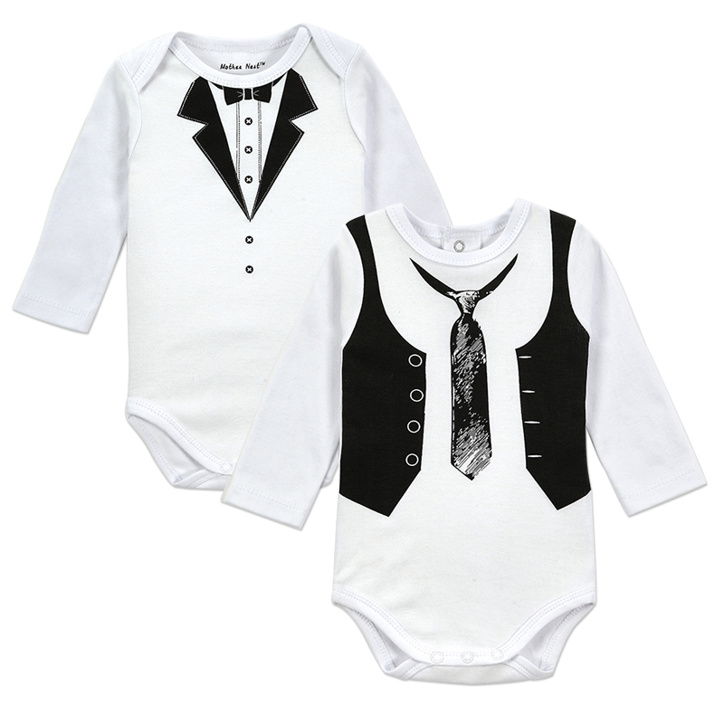 Free Shipping 2017 New Style 2 Pieces/lot Baby Romper with Tie Gemtleman Newborn Jumpsuit Baby Clothes