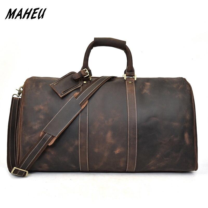 Men Crazy Horse Leather Travel Bag Big Real Leather Durable Weekend Bag Genuine Leather Travel Duffle