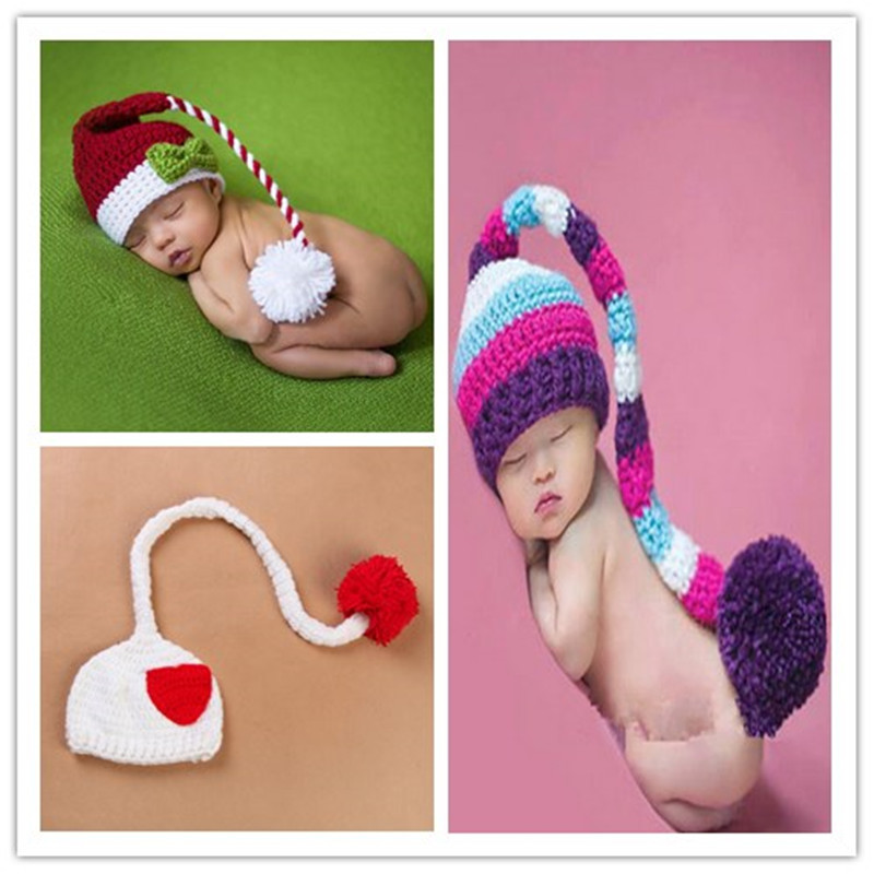 New arrive Baby Infant Hat Cap Long Tail Crochet Knitting Costume accessories Adorable Clothes newborn Photography