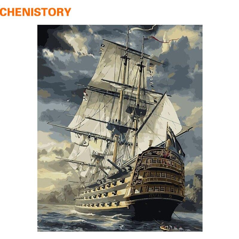 Chenistory barco à vela pintura diy by numbers desenho pintura by números Kits Pintar Sobre Tela Para A Parede Da Casa Da Arte Imagem 40x50