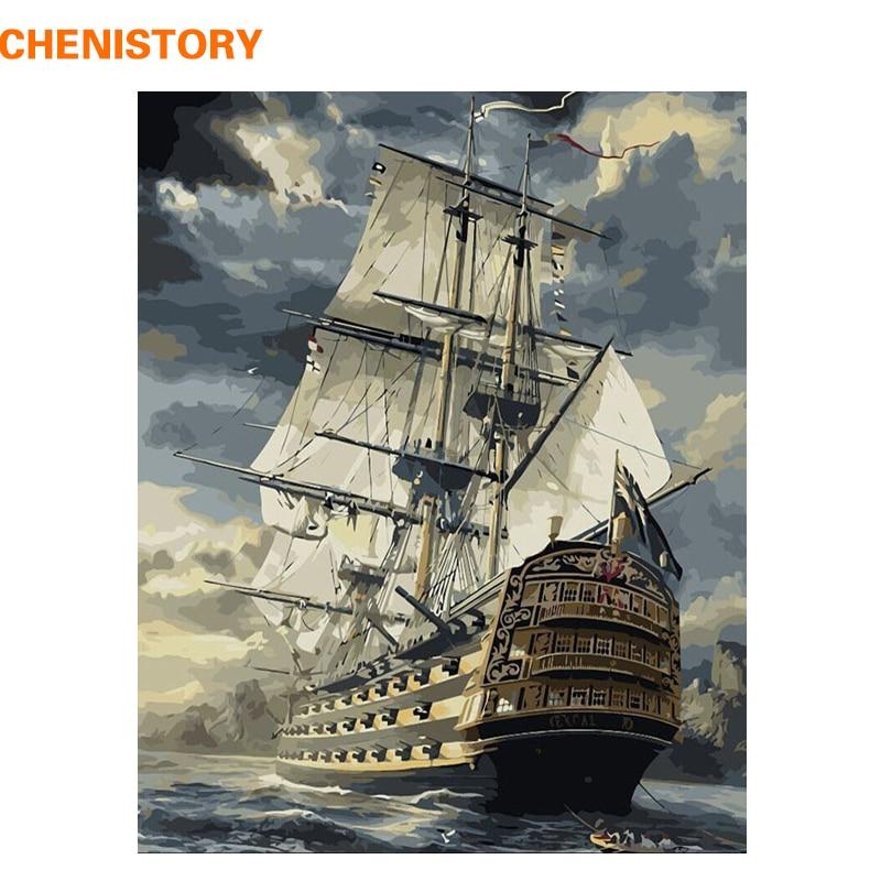 Chenistory barco de vela DIY pintura por números dibujo por números kits pintura sobre lona para la imagen casera de la pared 40x50