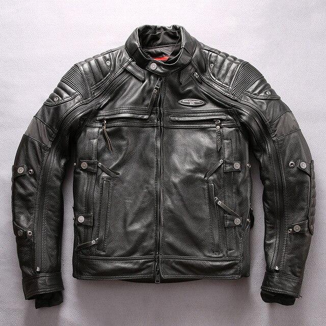 29a5af3c0 US $606.48 24% OFF|HARLEY ANGEL Professional Motorcycle Genuine Leather  Jacket Men Slim Fit Cowskin Men's Biker Jacket Removable Coats-in Genuine  ...
