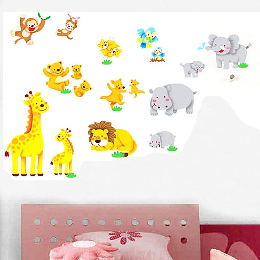 Pvc Cartoon Jungle Wild Animal Wall Sticker Decal Kids Nursery Baby