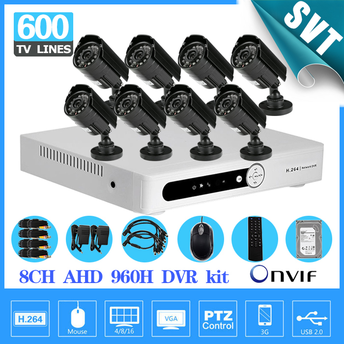 Video surveillance 600tvl camera security system 8ch cctv AHD 960h network dvr recorder kit 8 channel HDMI 1080p 1TB hdd SK-191 free shipping h 264 ahd cctv dvr 16 channel security camera system stand alone hdmi d1 video surveillance digital video recorder