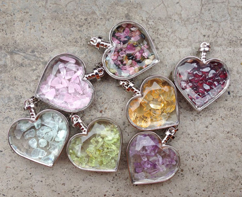 YA2047 Choose Stone Rose Pink Quartz Chips Glass Heart Bottle Pendant Silver wrapped 38x30x14mm
