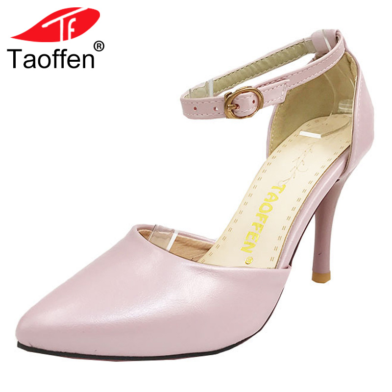 TAOFFEN women ankle strap stiletto party thin high heel sandals fashion ladies heeled footwear heels shoes size 32-43 P18455 women stiletto square high heel ankle strap sandals summer sexy fashion ladies heeled footwear heels shoes size 34 43 p17742