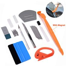 FOSHIO Auto Window Tint Tool Carbon Foil Film Magnetic Squeegee Vinyl Car Wrap Sticker Tool Cutter Knife Car Tinting Accessories ehdis auto window tint tool set vinyl wrap carbon foil film felt squeegee scraper sticker cutter knife car tinting accessories