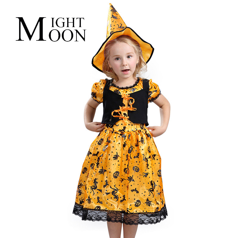 MOONIGHT Girls Kids Pumpkin Costumes Halloween Christmas Carnival Fancy Dress for Children Masquerade Cosplay Clothes