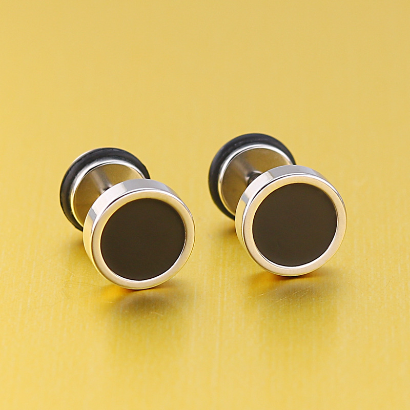 KPOP DNA Korean V Popular 8 <font><b>12</b></font> <font><b>mm</b></font> male black earrings silver men small stainless steel stud jewelry titanium punk earing brincos image