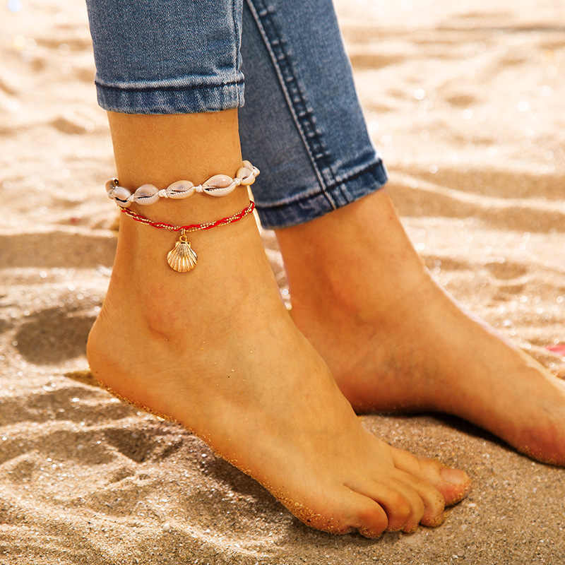Silver Blue Adjustable Beach Bracelet Shell Summer Bohemian Anklet Barefoot Women's Beads Accessories Ankle Feet Dropshipping
