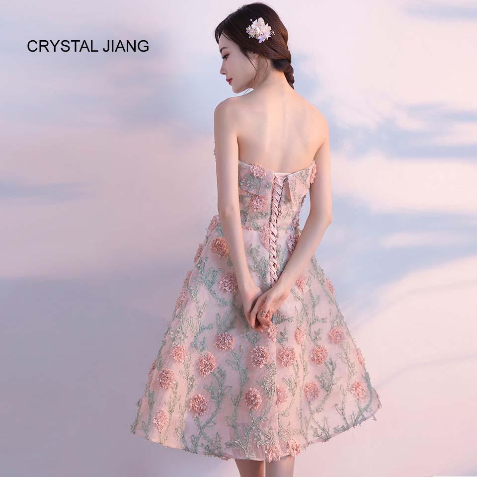 CRYSTAL JIANG 2018 Bruidsmeisje Jurk Strapless 3D Bloemen vestidos de - Bruiloft feestjurken - Foto 2