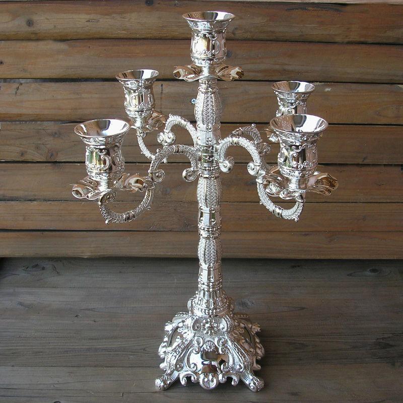 Rare Metal 5 Branch Silver Gold Candelabra Candlesticks Candelabrum Candle Holder Set Wedding Decoration 2174a In Holders From Home Garden On