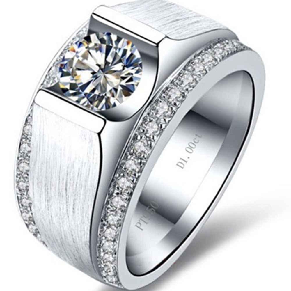 Handsome Man Ring Simulate Diamond 1CT Engagement Sterling Silver Ring Man Wedding Jewelry Ring White Gold