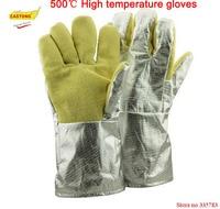 500 degrees heat insulation gloves High temperature resistant gloves to hot flame retardant aluminum foil Meta Aramid fire luvas