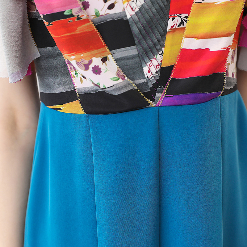 D'été Combinaisons Imprimer Base Courtes Combinaison Grande Bleu Élégant Décontracté Haute De Voa Manches Pour Femmes Boho Tunique Soie 5xl Taille K525 Sqwnx5z6
