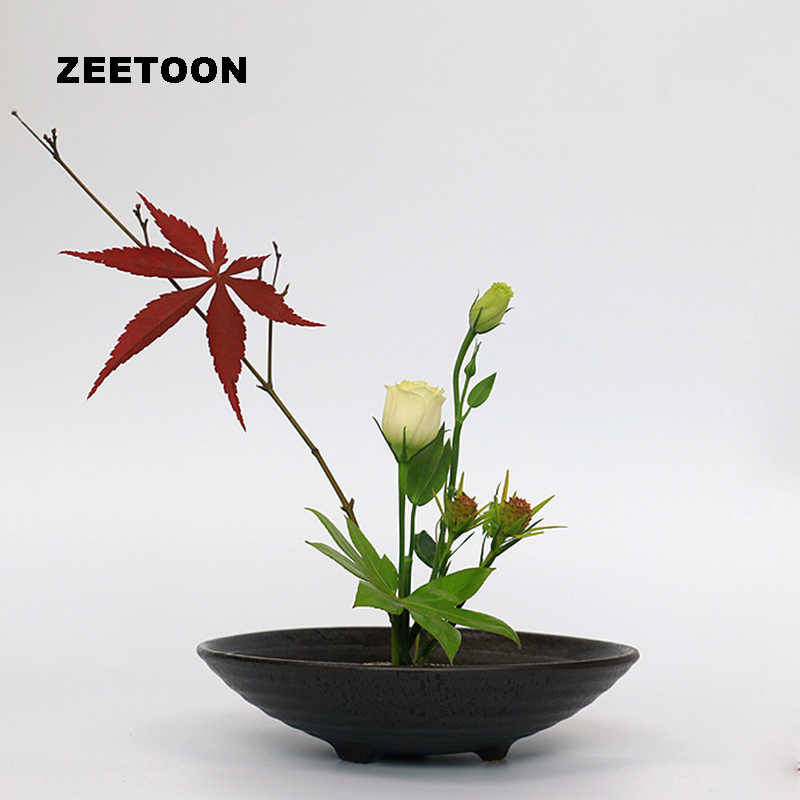 Japanese Ikebana Spiral Pattern Three Legged Bowl Flowerpot Containers Coarse Pottery Planters Tabletop Flower Pot Vases Basin Vases Aliexpress