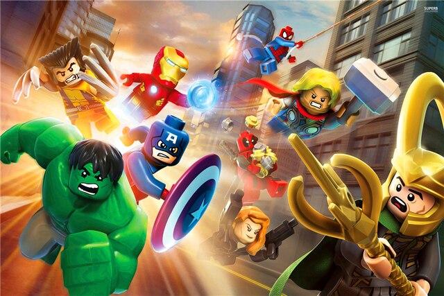 Custom Mural Lego Wallpaper Lego Poster Hulk Sticker Marvel Comics Superheroes Lego Avengers Wall Stickers Home Decor #2787#-in Wall Stickers from Home ...