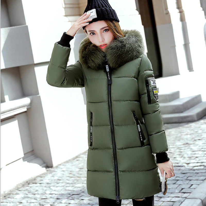 Mid-long Winter Jacket Women Plus Size 3XL Fur Collar Hooded Outwear Female   Parka   2019 Fashion Brand Womens Cotton Padded Jacket