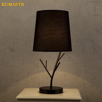 Minimalist Modern Table Lamp Bedside Table Light Hotel Bedroom Iron Branch Fabric Lampshade Abajur para sala KUMASTB