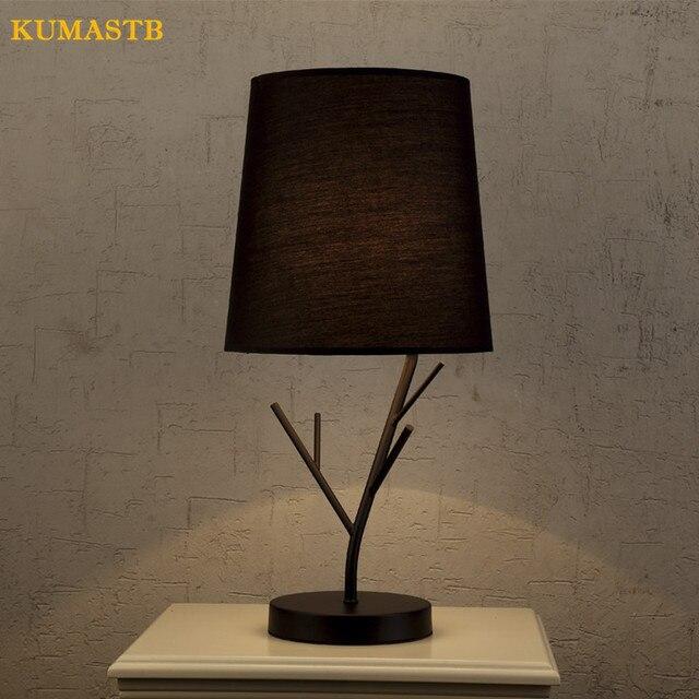 minimalistische moderne tischlampe nachttischlampe licht hotel schlafzimmer eisen zweig stoff. Black Bedroom Furniture Sets. Home Design Ideas
