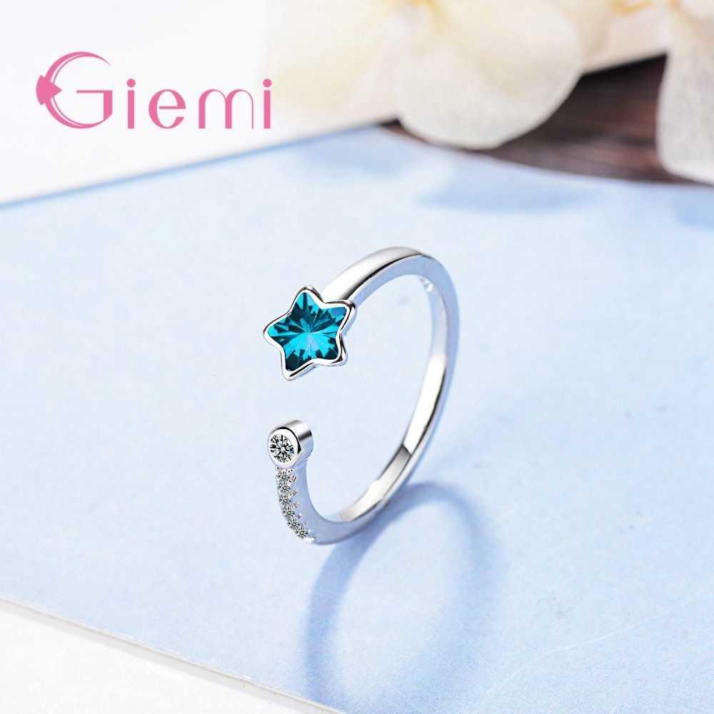 Голубые Кольца в форме звезды с регулируемым размером, кольцо из стерлингового серебра 925 пробы, корейский студенческий стиль, кубический цирконий, заводская цена