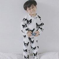 Winter Fashion Children Pajamas Sets Kids Cute Puppy Cartoon Pattern Flannel Shirt Pants 2pcs Baby Boy