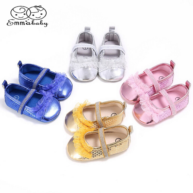 Emmababy Newborn to 0-18M Baby Girl Sequin Crib Shoes Toddler Sneakers