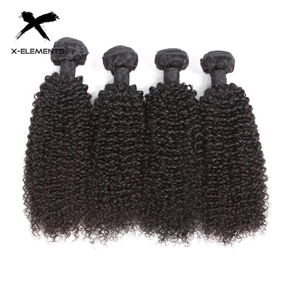 X-элементы волос Малайзии странный вьющихся волос, плетение 3/4 Связки предложения 100% Пряди человеческих волос для наращивания non-реми 8-26 дюйм(ов) натуральный Цвет