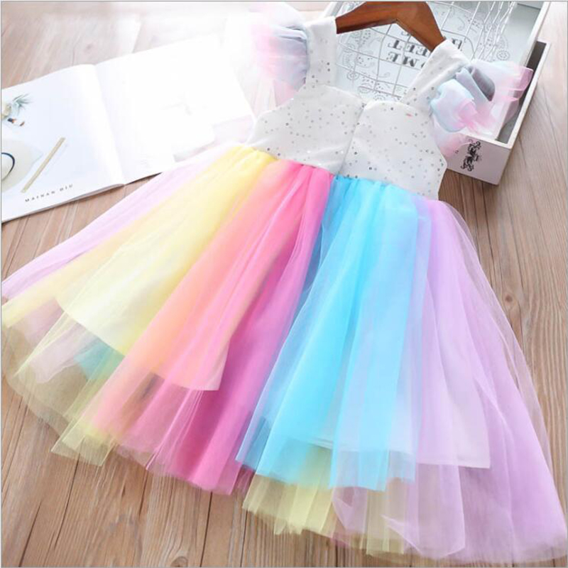 Baby Girls Unicorn Rainbow Christmas Brithday Sequin Tutu Dresses Clothes Children Kids Princess Party Little Pony Clothing 6