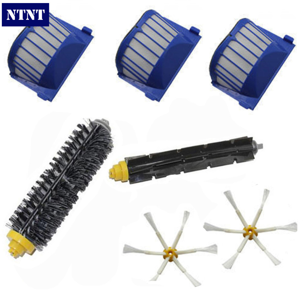 NTNT New AeroVac Filter,Side Brush,Bristle and Flexible Beater Brush Combo For iRobot Roomba 600 610 620 625 630 650 660 Cleaner aero vac filter bristle brush flexible beater brush 3 armed side brush tool for irobot roomba 600 series 620 630 650 660