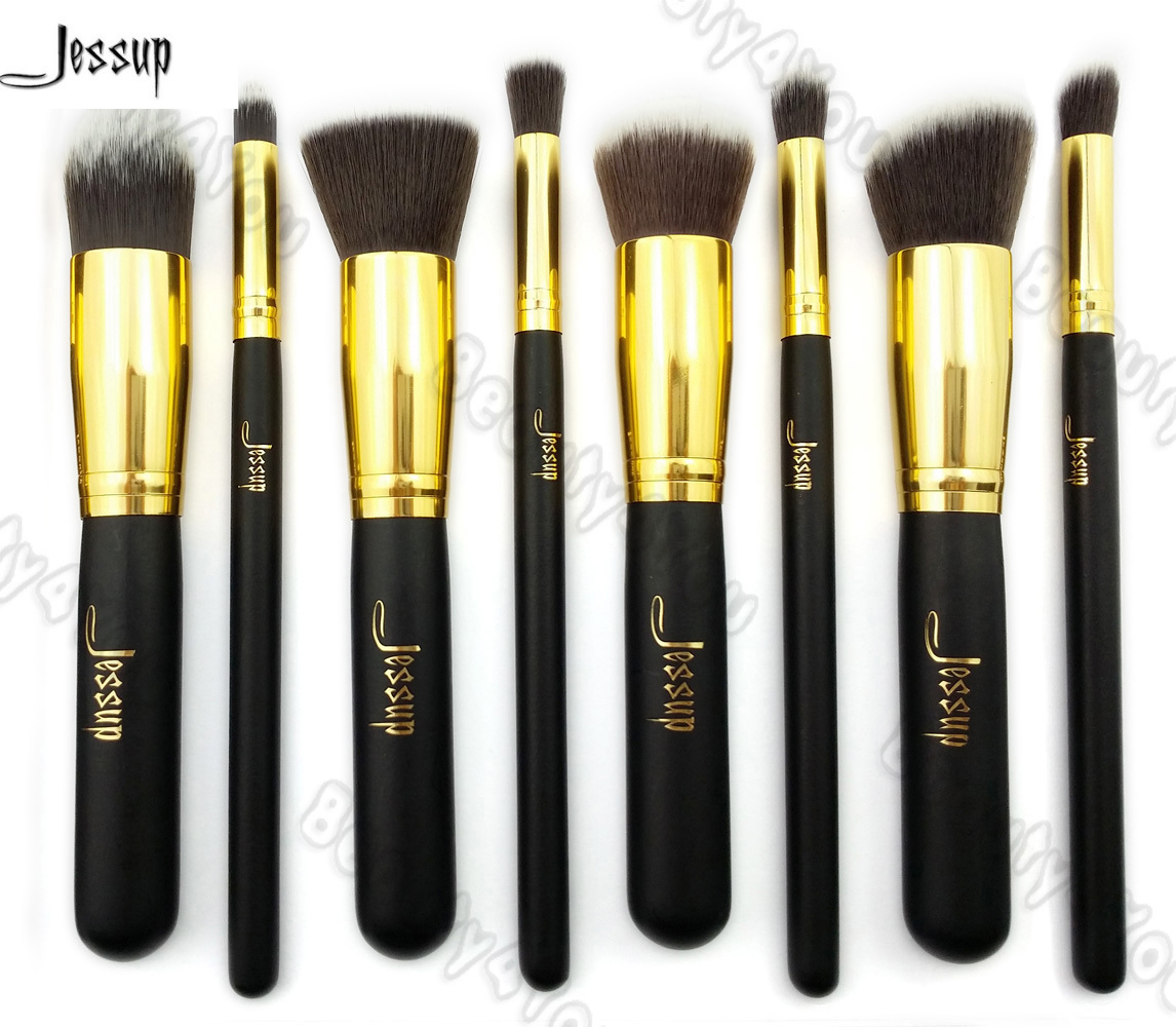 2017 Professional 8pcs Black/Gold Foundation blush Liquid  Kabuki brush Makeup Brushes Tools set Beauty Cosmetics kit  T052