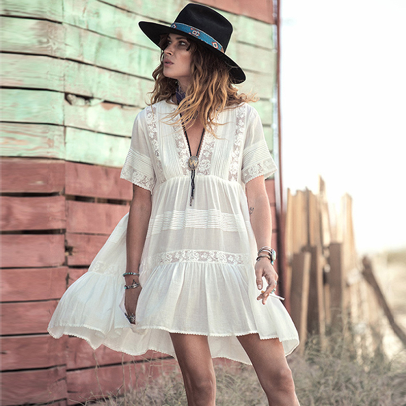 Casual Loose Fit Summer Dress Women White Cotton Mini Dresses Vneck Embroidery Lace Fashion Bohemian Style