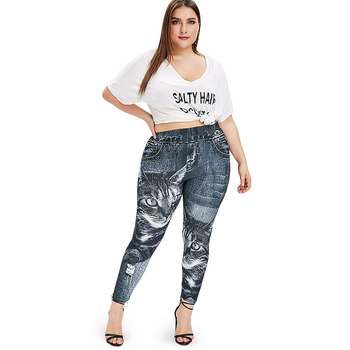 PlusMiss Plus Size XXXXXL Cat Imitation Jeans Denim Print Leggings Women Clothing Big Size Jeggings Leggins XXXXL XXXL Legins 1