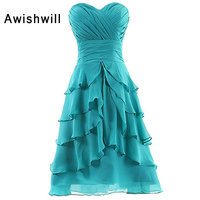 Real Picture Sweetheart Neckline Ruched Tiered Chiffon Knee Length Turquoise Color Short Bridesmaid Dresses for Wedding