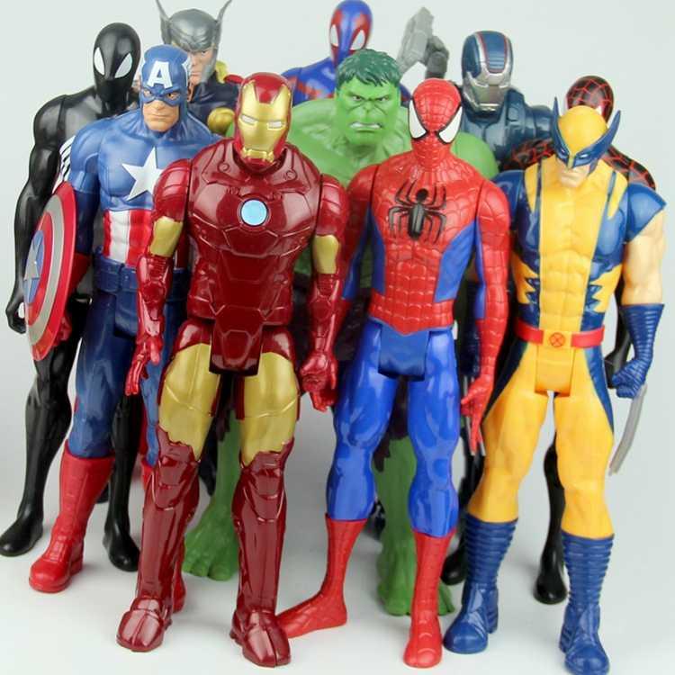 Avengers 30 Cm Marvel Nhựa PVC Nhân Vật Người Nhện Tượng Hình Đồ Chơi Trẻ Em Hulk Đội Trưởng Mỹ Siêu Nhân BatMan
