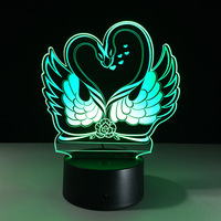 ES 361 Swans Type Nightlight Remote Control Touch Colorful 3D Lights Acrylic Visual Stereo Lamp Mini