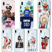 Black Brown Hair Baby Vogue Mom Princess Girl Soft Coque For Samsung Galaxy A7 2018 A10 A30 A50 M10 M20 A6 A8 2018 Case Cover(China)