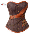 2016 Corselet Sexy Lingerie Women Corset Overbust Brown Breast Binder Steel Bone Steampunk Belt Sexy Korset Bustiers