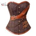 2016 Corselet Sexy Lingerie Women Corset Overbust Brown Breast Binder Steel Bone Steampunk Belt Sexy Korset Bustiers