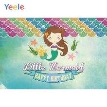 Yeele Cartoon Mermaid Baby Girl Children Birthday Party Photography Backdrop Custom Photographic Background For Photo Studio