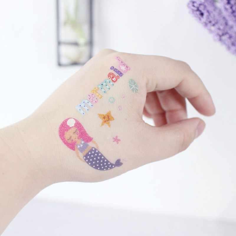 Anak Laki-laki Gadis Tato Stiker Mainan Sea World Stiker Kartun Putri Duyung Laut Kura-kura Rumput Laut Anak Lengan Tato Tahan Air Anti Keringat stiker