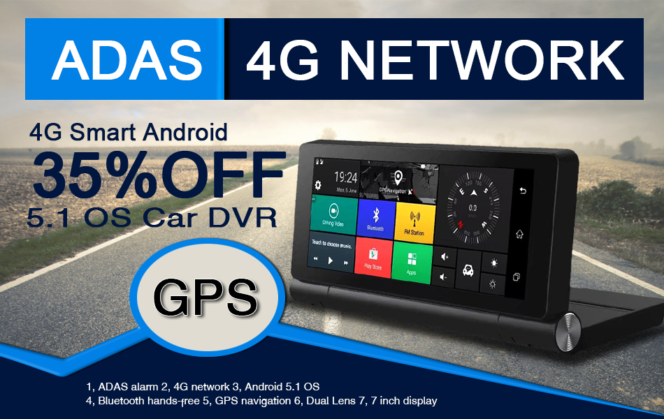 Dealcoo 7 Inch IPS Car DVR Recorder Camera with 4G Android ADAS GPS Navigation Dual Lens 1080P Full HD Russian Europe Free Maps