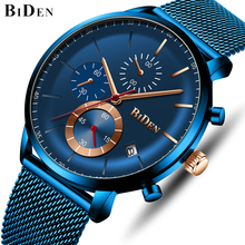 цена BIDEN Men Watches Top Luxury Brand Fashion Blue Analog Quartz Watch Men's Military Sport Waterproof Wristwatch Male Casual Clock онлайн в 2017 году