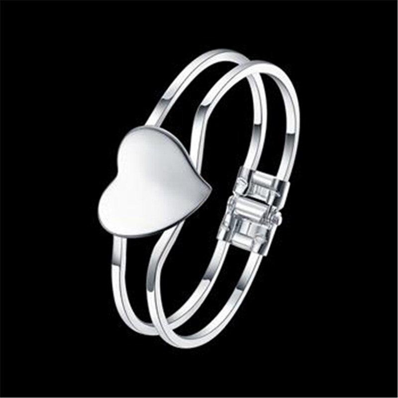 Браслет Дизайн для Для женщин Мода Сейф Пряжка Стиль Jewelry 925 Серебряные ювелирные изделия линия сердца