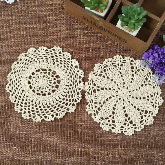 20 cm 20 unids mano crochet doilies ronda tapetes de ganchillo, boda ...