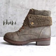 Women Ankle Boots Winter Plus Size 43 Lace Up Warm PU Leather Shoes For Ladies Casual Wedges Sewing rubber boots women