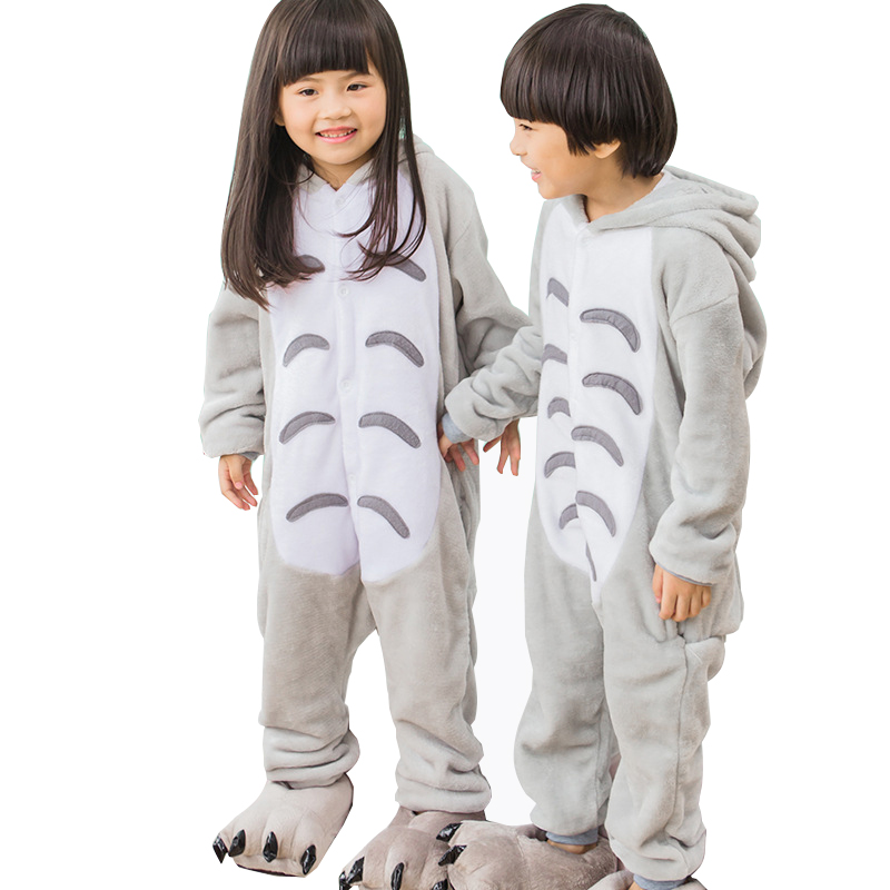 Flannel Totoro Pajamas Kids Cosplay Cartoon Animal Baby Boys Girls Pajamas Home Clothes Pajamas One piece Sleepwear cami satin two piece summer pajamas