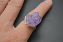Inner Size Adjustable Natural Druzy Flower Amethyst Gemstone Rings Fashion